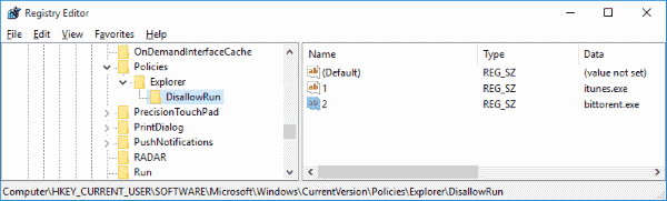 Block Windows app registry