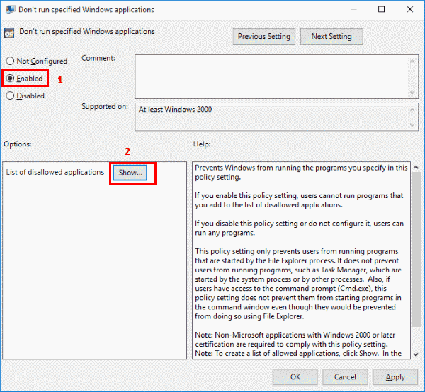 Dont run specified Windows applications window