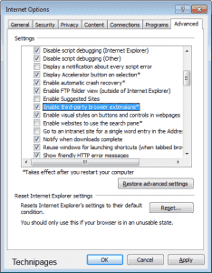 Enable/Disable Internet Explorer Extensions and Add-Ons