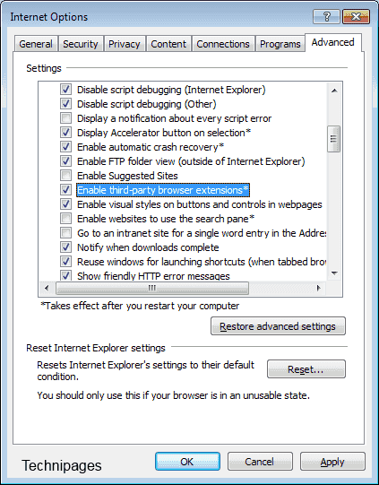 Enable third party browser extensions setting