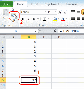 Excel copy cell