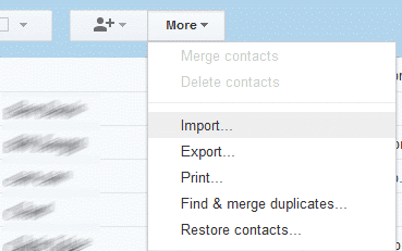 Gmail Contacts Import option