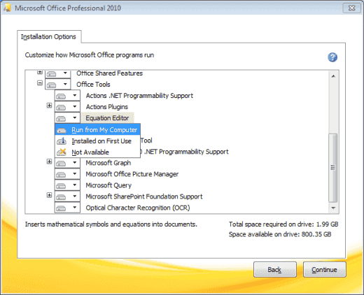 Office 2010 Enabling Equation Editor selection
