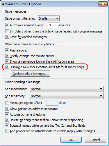 Outlook email notification setting