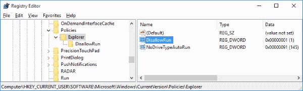 Registry disallow run DWORD