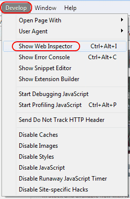 Show Web Inspector option