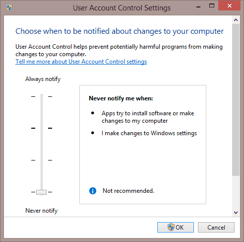 User Account Control Settings window in Windows 8