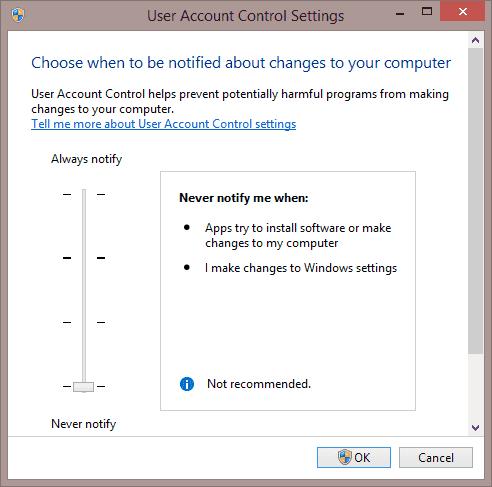 User Account Control Settings window in Windows 8