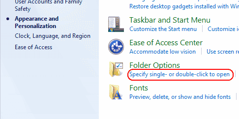 Win7 Folder options to single click