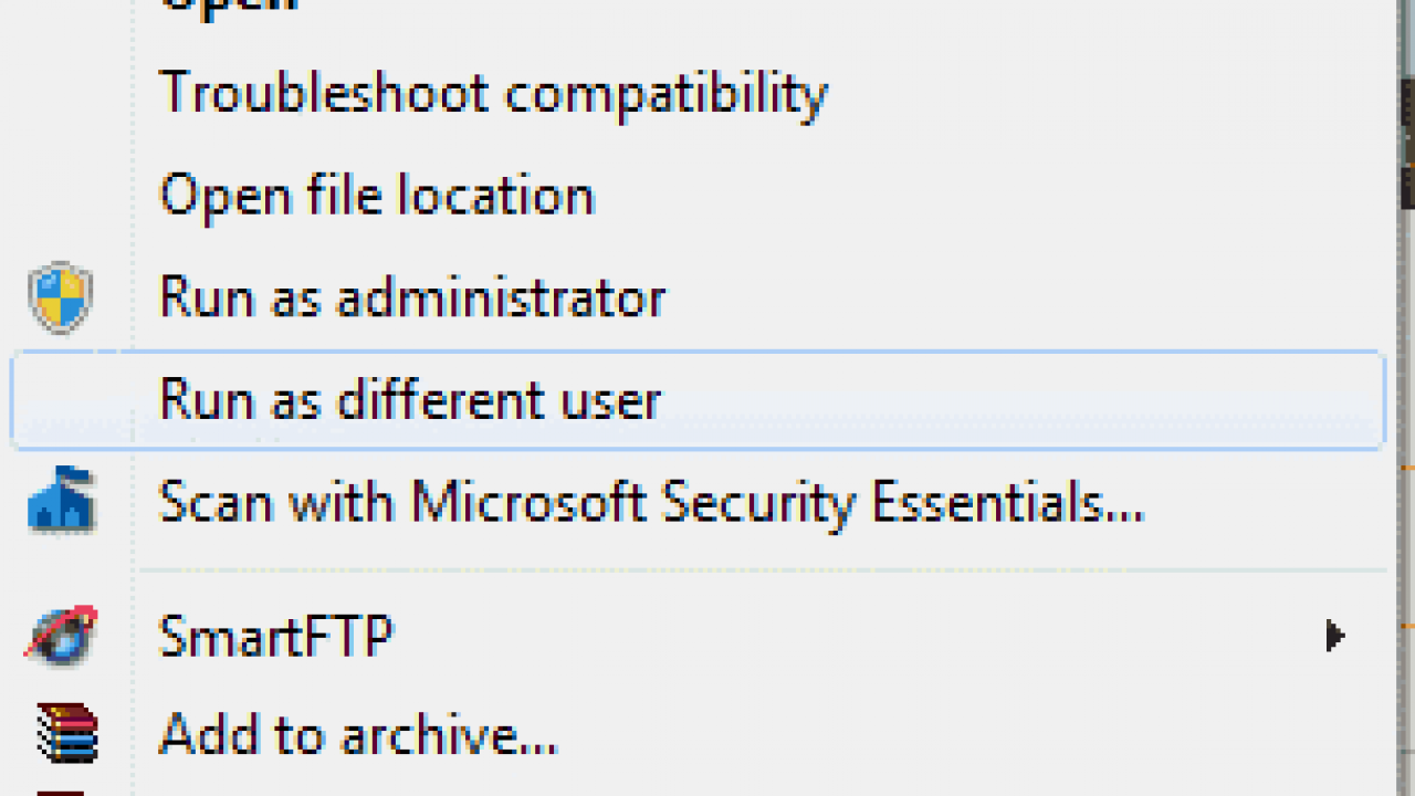 "Enable Right-Click ""Run as different user"" in Windows"