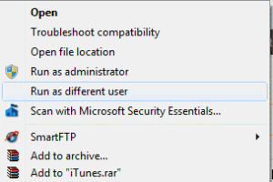 "Windows: Enable ""Run as different user"""