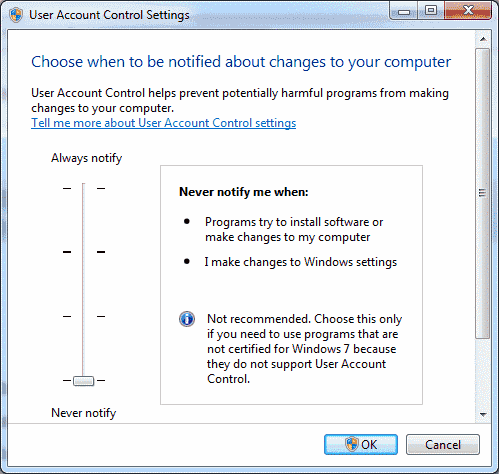 Enable or Disable User Account Control (UAC) in Windows 10, 8, or 7