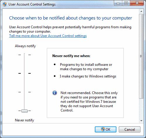 Win7 User Account Control settings