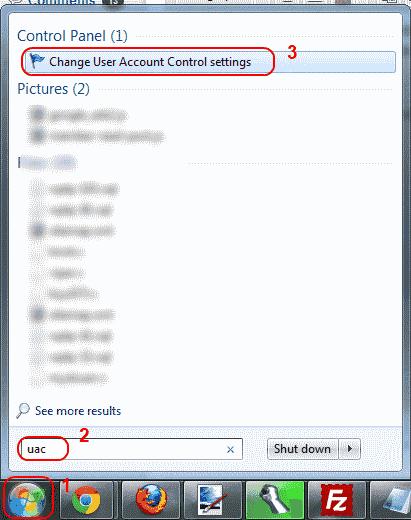 Win7 accessing UAC setting