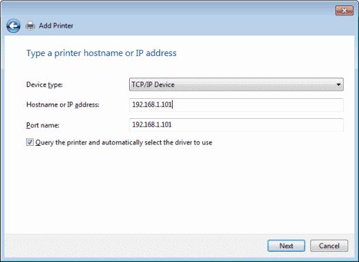 Windows 7 - Adding printer by IP address