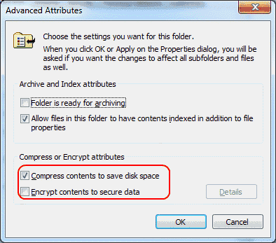 Windows file encryption and compression settings