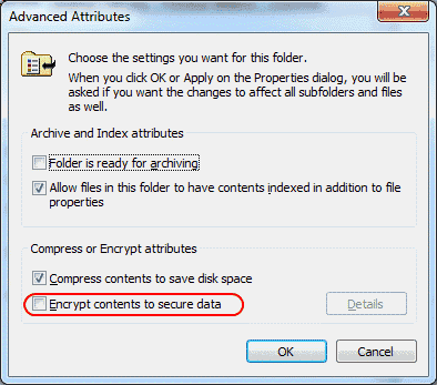 Windows file encryption setting