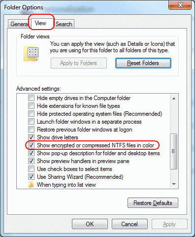 Windows show compressed or encypted files in color setting