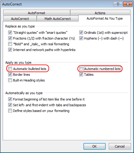 Word 2010 Auto number and bullet options