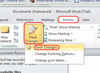 Word track changes feature