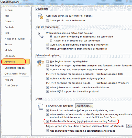 Outlook 2010 troubleshooting logging checkbox