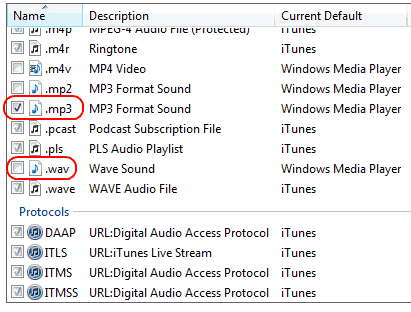 Win7 Select files for iTunes to open