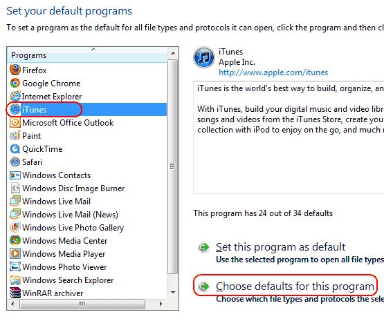 Win7 Select program to set default options