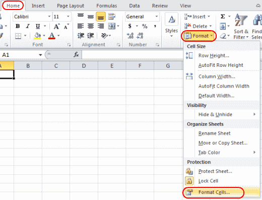 Excel Format Cells option