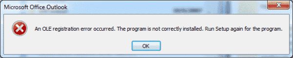 "Outlook: Error ""An OLE registration error occurred. The program is not correctly installed…"""