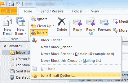 Outlook 2010 junk email options