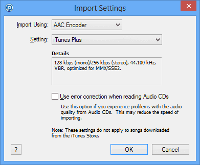 iTunes Import CD settings