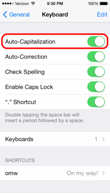 iOS Auto Capitalization setting