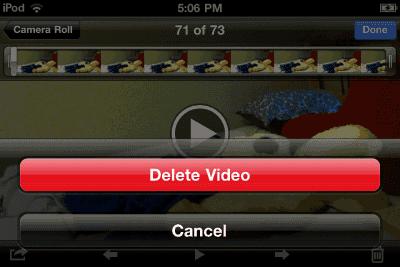 iPod delete video option