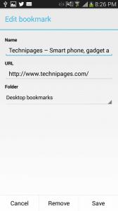 Chrome Android modify saving bookmark