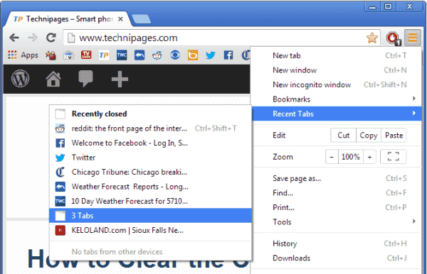 Chrome Reopen Closed Tabs