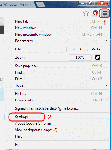 Google Chrome Menu Settions option