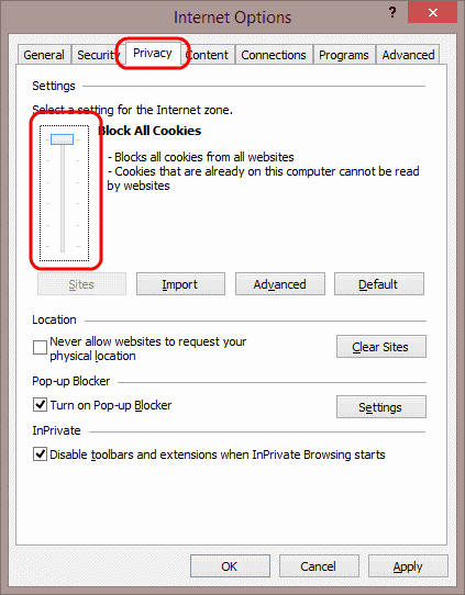 Enable or Disable Cookies in Internet Explorer 11