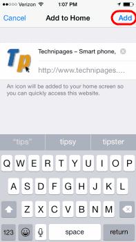 iOS add Home Bookmark