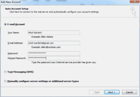 Outlook 2010 IMAP Gmail settings