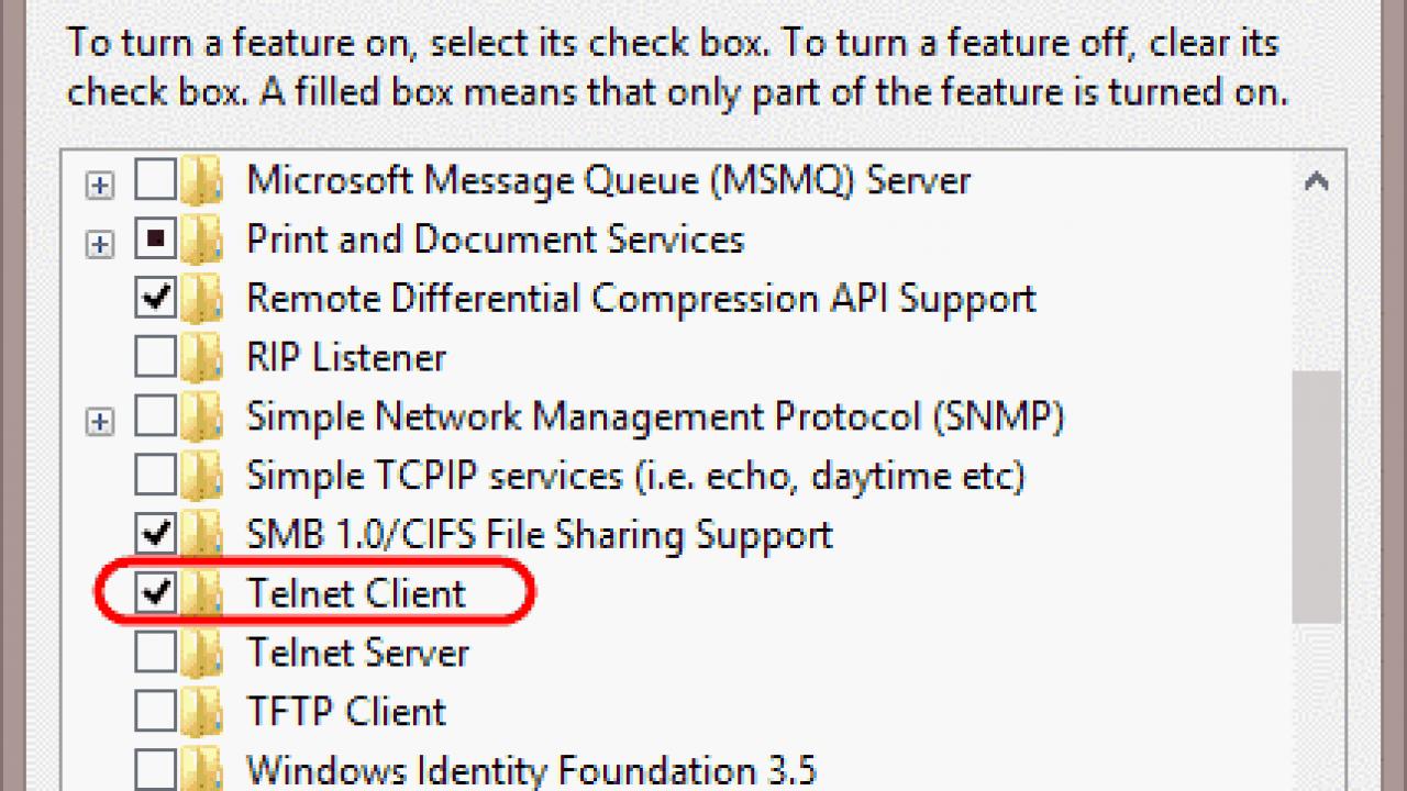 Windows 10: Install Telnet Client