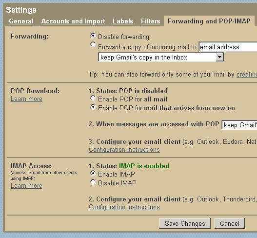 gmail  pop settings