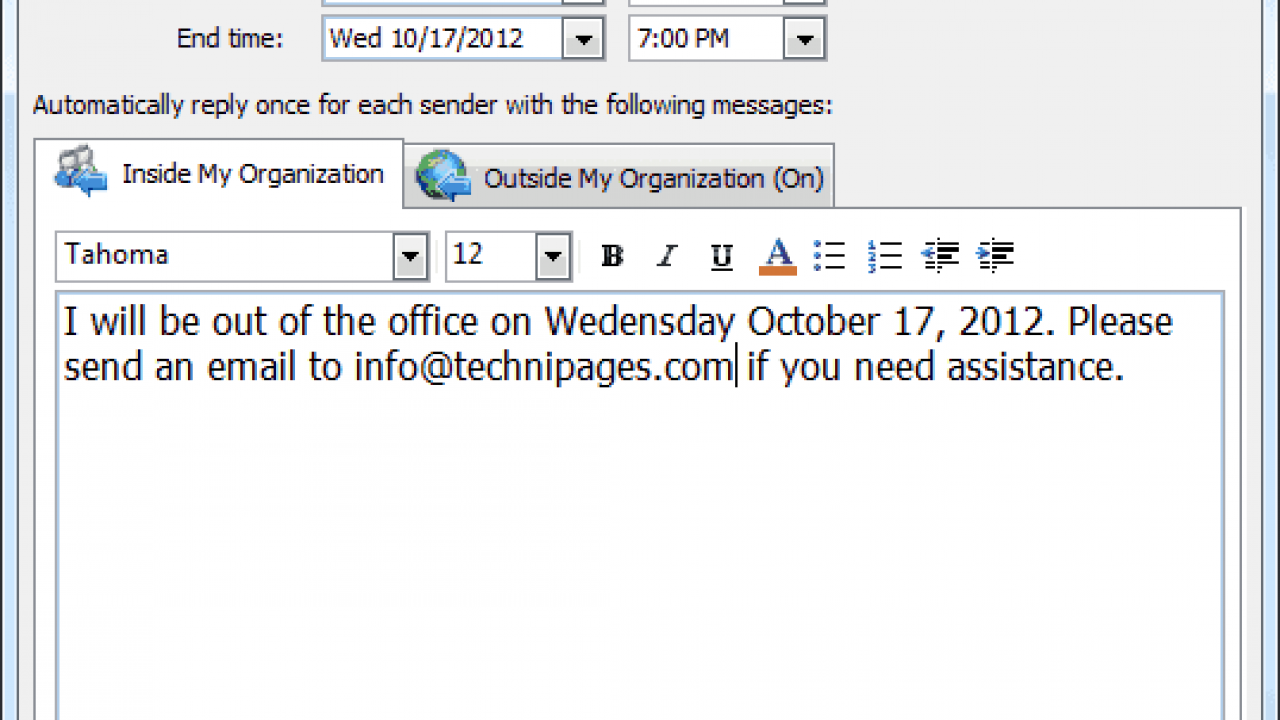 MS Outlook: Set Out of Office Message