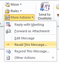 Outlook 2019/2019: Recall Email Message