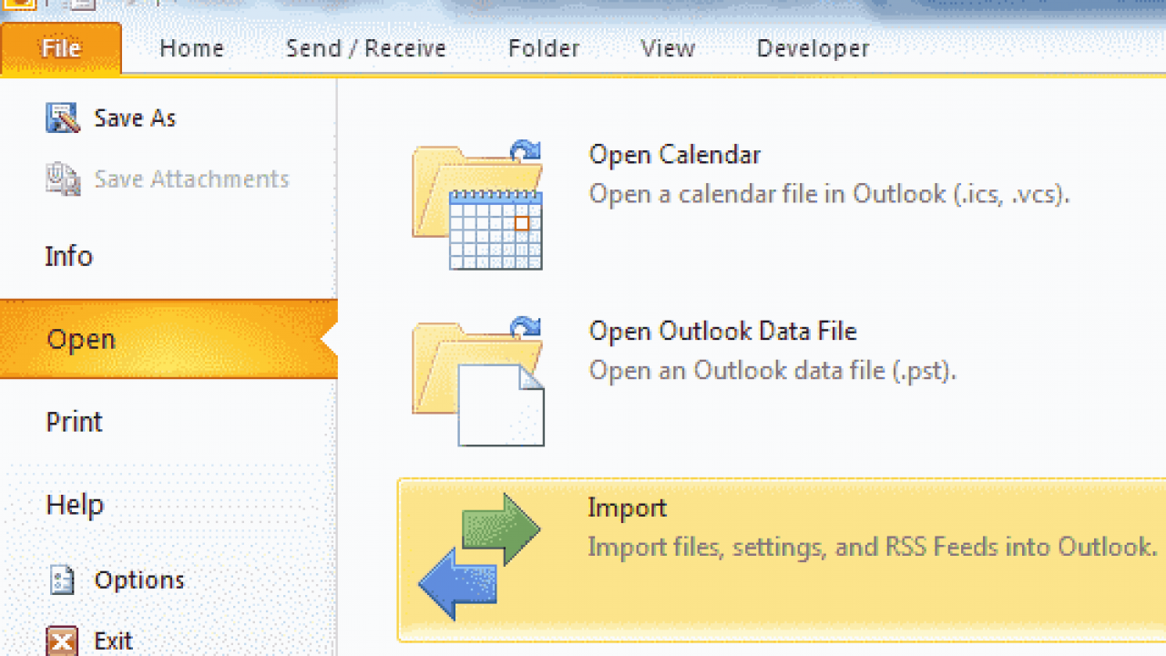 Outlook 2016: Backup/Export & Import Data - Technipages
