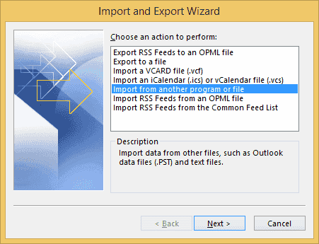 Outlook import from file