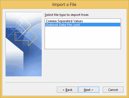 Outlook import pst