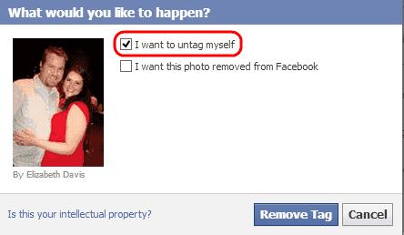 Untag Photo options