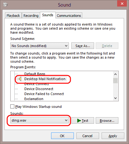 Windows set sound on email notification