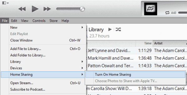 iTunes Home Sharing setting