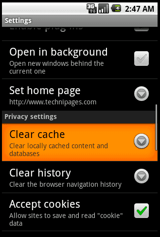 Droid - Clear Browser cache files